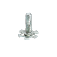 a steel bonding fastener consisting of a male threaded stud on a 19mm round base plate.