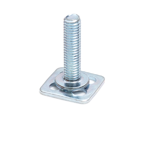 a Mild Steel (BZP) bonding fastener consisting of a male threaded stud on a 15x15mm square base plate.