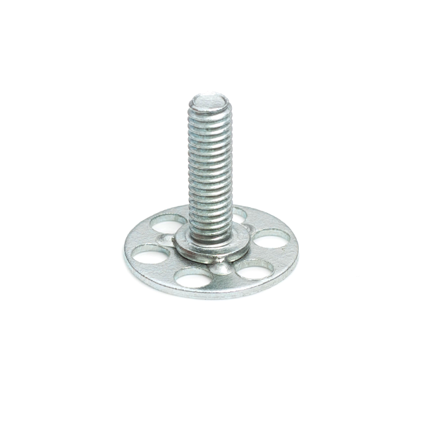 a Mild Steel (BZP) bonding fastener consisting of a male threaded stud on a 23mm round base plate.