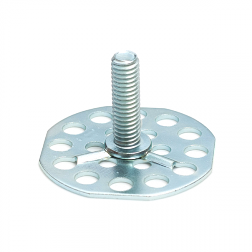 a Mild Steel (BZP) bonding fastener consisting of a male threaded stud on a 38mm round base plate.