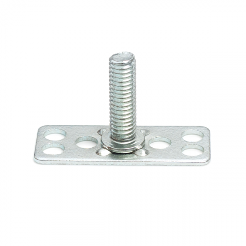 a Mild Steel (BZP) bonding fastener consisting of a male threaded stud on a 38x15mm rectangular base plate.