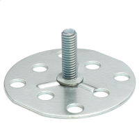 a Mild Steel (BZP) bonding fastener consisting of a male threaded stud on a 50mm round base plate.
